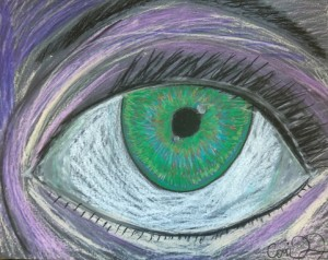 Seward High Art – Oil Pastel Eye Self Portraits